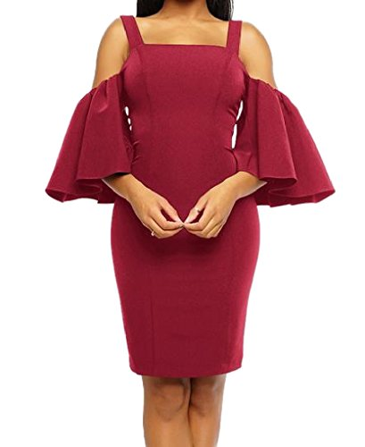 Out Shoulder Cut Pure Wine Colour Fashion Red Dresses Womens Curvy Comfy wIpqtgg