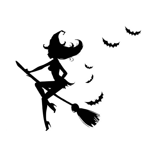 Fangeplus(R) DIY Removable Halloween Witch Broom Glass Window Decoration Art Mural Vinyl Waterproof Wall Stickers Kids Room Decor Nursery Decal Sticker Wallpaper24.0''x28.7'' -