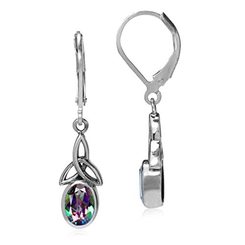 Mystic Fire Topaz 925 Sterling Silver Triquetra Celtic Knot Leverback Earrings ()