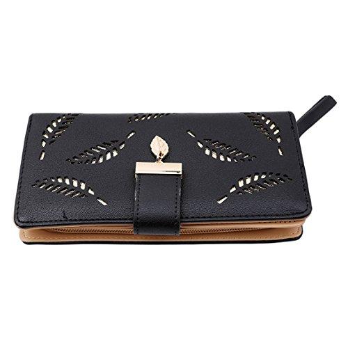 Elegante Damen Portemonnaie Süß Geldbörse Beutel Fashion Portmonee Leder  Grau
