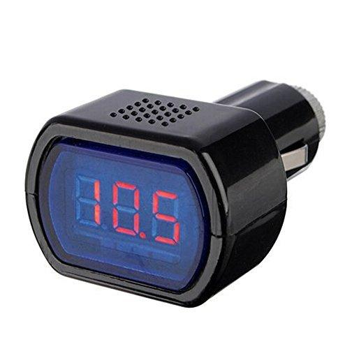 aikesi negro 12 –  24 V Indicador de voltaje voltí metro comprobador de baterí a de coche rojo de la pantalla