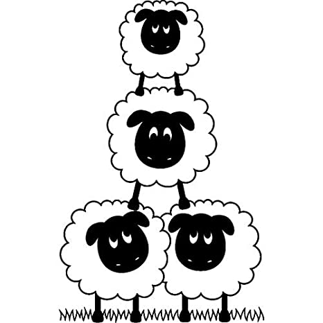 A8 Pair of Sheep Unmounted Rubber Stamp RS00021458