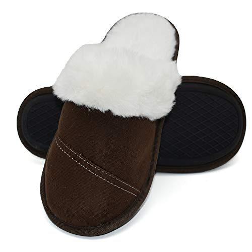 Womens Faux Fur Warm Memory Foam Slippers Suede Slip-on Cozy House Shoes Non-Slip Sole Brown
