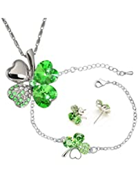 Four Leaf Clover Swarovski Elements Crystal Rhodium Plated Necklace, Earrings & Bracelet Set