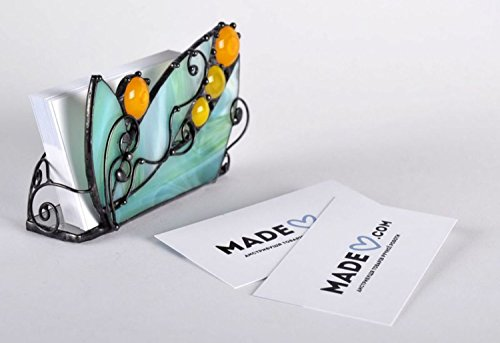 Unique Stained Glass Handmade Business Cards Holder Office Supply – Perfect Gift Idea By - Card Glass Stained