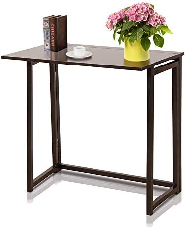 Folding Computer Desk for Small Spaces – Foldable Industrial Laptop Desk,Small Office Home Writing Desk Table Space Saving,No-Assembly Simple Compact Collapsible Modern Study Desks