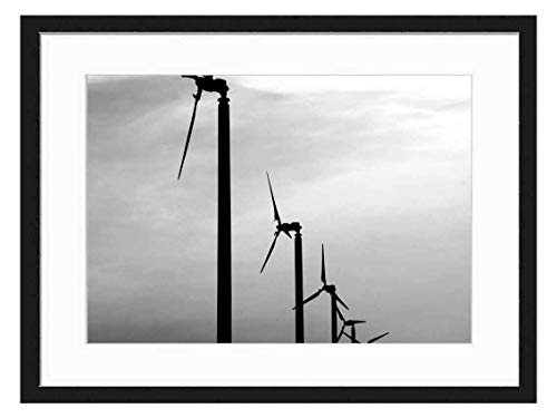 Wood Framed Canvas Artwork Home Decore Wall Art (Black White 20x14 inch) - Wind Generator Power Turbine Electricity Ecology