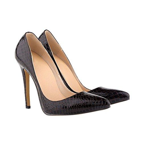High Grain 11CM Ladies Shoes Stilettos Coffee Heels Zhuhaixmy Crocodile pattern Pumps qwEHxXZ