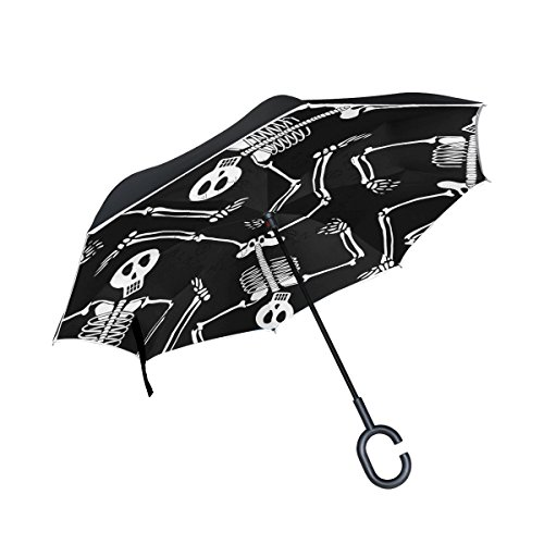 imobaby Jennifer Straight Self-standing Reserve Umbrella Cool Skeleton Skull Pattern Double Layer Inverted Folding Umbrella Waterproof Umbrellas for Car (Reserve Skeleton)