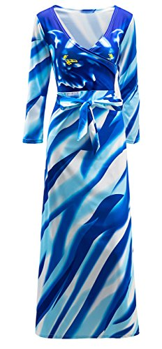 shekiss Womens V Neck Sexy Floral Print Long Sleeve Dress Prom Cocktail Stretch Maxi Belt Outfit
