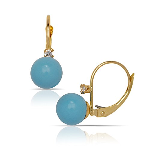 14k Yellow Gold Blue 7x7mm Simulated Turquoise Ball Drop Leverback Earrings - Measures 20x7mm by JewelryWeb