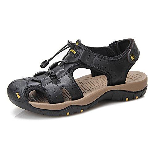 XIANGBAO-Personality Sandales de Plage Confortables pour Homme en Cuir véritable avec Dentelle antidérapante et Semelle Souple à Bout fermé Mode et décontractée - Noir - Noir, 39 EU