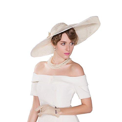 HomArt Women's Wide Brim Wedding Church British Party Hat Triple Crown of Thoroughbred Racing Hat with Flower pattern, Beige by HomArt (Image #2)