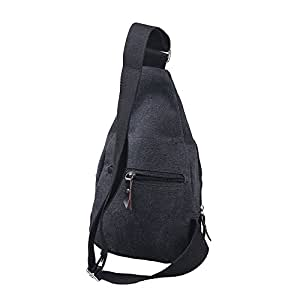 Men's Canvas Bag Satchel Shoulder Bag Chest Bag Hiking Bag Sports Bag Outdoor Multifunctional (Black)