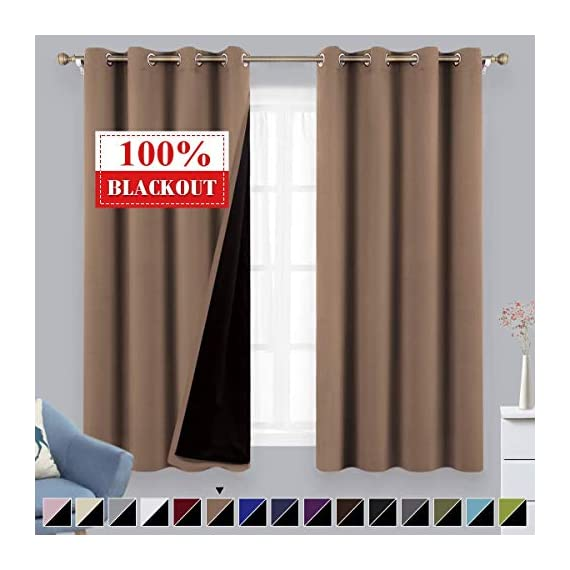 "BYSURE Bedroom Darkening Cappuccino Drapes Sunlight Blackout Curatains Silky & Soft Grommet Blackout Rod Window Draperies,for Babyroom Curtains 2 Panels 95 inches (Coffee Cappuccino Drapes) - PACKAGE: BYSURE Coffee 100% blackout curtains Includes 2 panels per package. EACH Classic Curtain measures W52"" x L95"",it's easy to hang on and smooth to slide with 8 silvery grommets (internal diameter 1.6""), fit easily with standard curtains grommet rods, The simple design gives people a sense of ease. You will see such beautiful decorations at the first sight when you come back to home, which will expel your fatigue and lift your mood to face your family every day! Exquisite Made: It is a smart choice if you would like to turn day into night. Bysure 100% Blackout Curtains made of double layer innovative triple-weave fabric, a high technology on real blackout feature. The increasing density in fabrics makes them more compact and thick. The grommets made of AA6011 aluminium alloy which has strong bearing capacity, they won't fall off or bend during sliding, can deliver the maximum privacy environment to encourage your healthy sleep. GOOD PROPERTY: You'll get completely blackout, noise reducing, windproof, private protection in your house with BYSURE blackout curtains. Also after strict testing by the authoritative quality technology center, Bysure insulated curtain panels can prevent 100% sunlight and ultraviolet. Our draperies Balancing room temperature by insulating against either heat or cold, which is the leading green environmental protection energy-saving home textile products in the world. - living-room-soft-furnishings, living-room, draperies-curtains-shades - 41WCnEnCNbL. SS570  -"