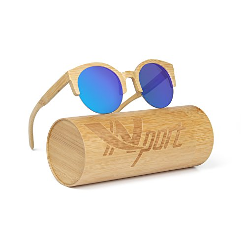 Ynport Mens/Womens Polarized Kat-eye Bamboo Sunglasses,Wooden Coated Sunglasses, Vintage Eyewear, Floating Wayfarer,for Men and Women