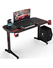VIT 47 Inch Ergonomic Gaming Desk, T-Shaped Office PC Computer Desk with Full Desk Mouse Pad, Gamer Tables Pro with USB Gaming Handle Rack, Stand Cup Holder&Headphone Hook (47 inch, Black)