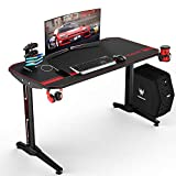 VIT 47 Inch Ergonomic Gaming Desk, T-Shaped Office PC Computer Desk with Full Desk Mouse Pad, Gamer Tables Pro with USB Gaming Handle Rack, Stand Cup Holder&Headphone Hook (47 in BLK)