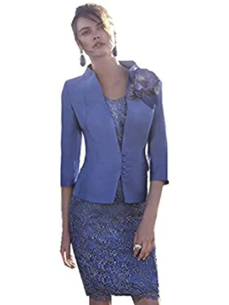 dressvip Blue Lace Mother of The Bride Dress and Jacket: Amazon.co ...