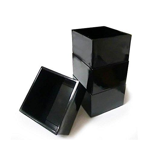 Japanese Sake Cup, Sake Masu 3x3inch, Black, 4 Pcs by GuCra Japan