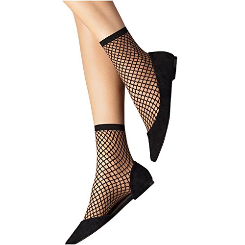 (POPOOL PPBL17 3 Pair Short Ankle Socks Women's Ladies' Fishnet Mesh Stylish (3 Pair Black M-Nets))