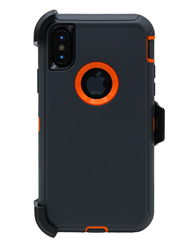 WallSkiN Turtle Series Cases for iPhone Xs/iPhone X (Only) Tough Protection with Kickstand & Holster - Charcoal (Dark Grey/Orange)