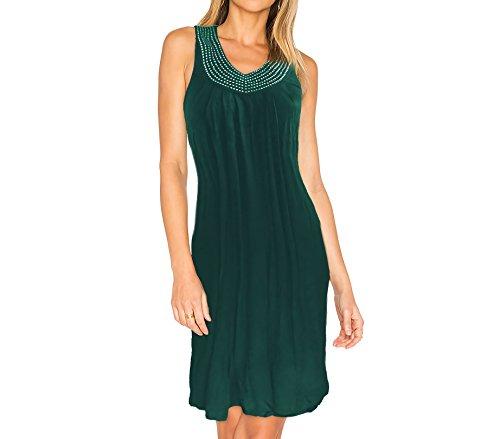Abito da donna modello LEA con strass sul collo taglia Unica by MWS AHEAD. MEDIA WAVE store ® (Verde)
