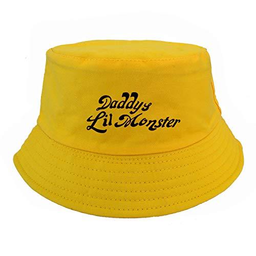 Feisette Cosplay Suicide Squad Harley Quinn Costume Bucket Hats Daddy's Monster Hats Joker Cosplay pop Fisherman Cap Yellow -