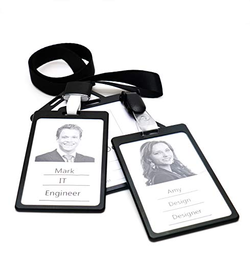 Tueascallk Aluminium Alloy Badge Holder with a Removable Clip and Lanyard, Dual Transparent Side, Black, 4 Packs ()