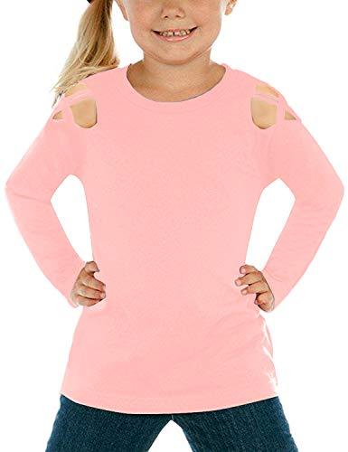 Lookbook Store Girls Pink Long Sleeve Shirt Crisscross Cold Shoulder Tee Tops Casual T-Shirt M(US 8-10) -
