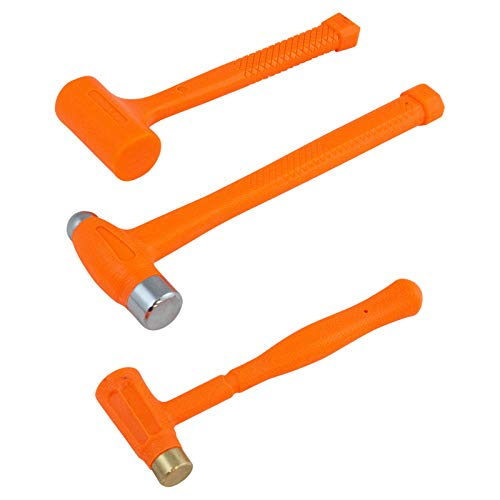 3 Piece Shot Filled Dead Blow Hammer Set Brass, 16oz Ball Peen, 24oz Coated (Hammer Blow Ball Dead Set Peen)