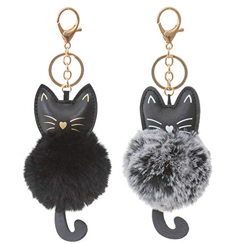 2 Pack Cute Novelty Black and Gray Kitty Cat Keychain Faux Fur Ball Pom Pom Key Chain Ring for Women Girls Bag Pendant (Black and Gray Cat)