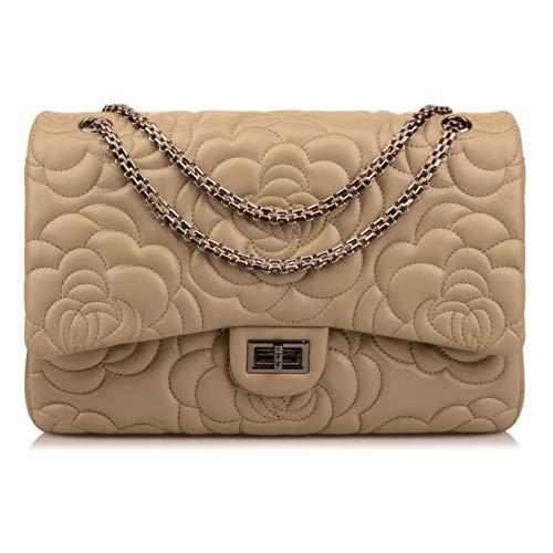 (Ainifeel Women's Quilted Oversize Genuine Leather Shoulder Handbag Hobo Bag Purse (X-Large, Greenish taupe flower gunmetal)