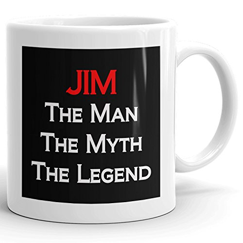 Jim Coffee Mugs - The Man The Myth The Legend - Best Gifts for men - 11oz White Mug - Red