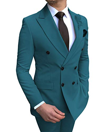 Aesido Men's Suits 2 Pieces Double Breasted Regular Fit Notch Lapel Solid Prom Tuxedos Wedding (Blazer+Pants)(Teal Blue,48US)