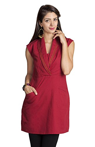 MOHR Women's Tunic with Shawl Collar X-Large Dark Red by MOHR - Colors of India