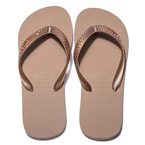 NDB Men's & Women's Classical Comfortable EVA Rubber Sandal Flip Flop (8 M US Women / 6 M US Men, Rose Gold)