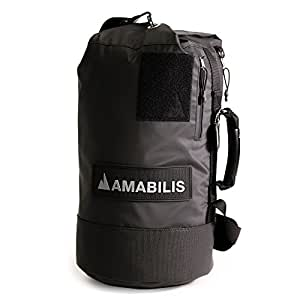 Amabilis Dave Jr 2.0 Water Resistant, Heavy Duty Tactical Duffel Bag, 18 x 10 Inches - 23 Liters/1413 cu.in, Black/Tactical