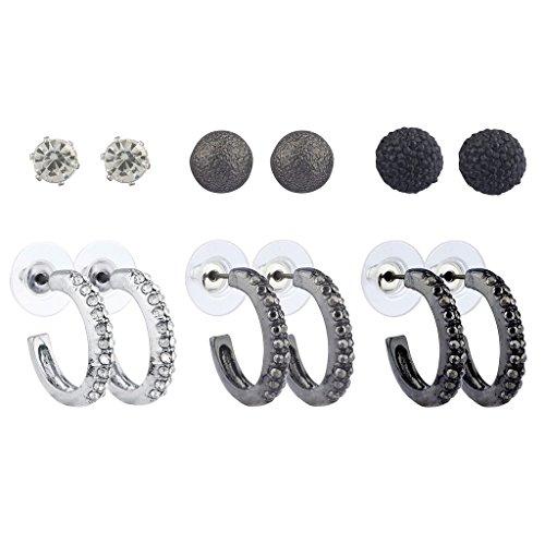 - Lux Accessories Silvertone Hematite Black Tone Crystal Caviar Stud Huggie Hoop Set