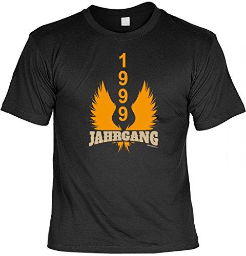 Lustiges Shirt - Jahrgang 1999 - bedrucktes T-Shirt mit Spaß Motiv als Geschenk zum Geburtstag in Schwarz