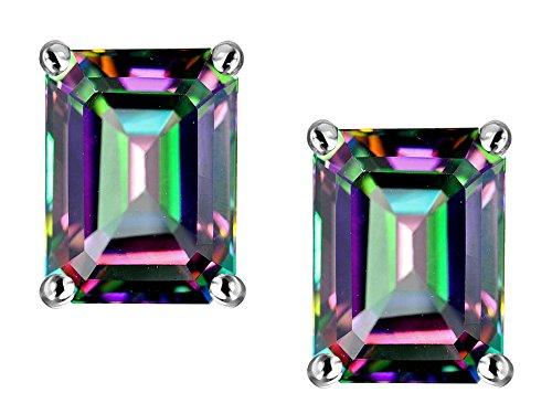 Star K Emerald Cut 8x6mm Rainbow Mystic Topaz Earrings Studs 14 kt White (Mystic Fire Topaz Emerald)