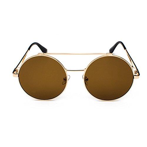 redondas mujeres Metal Gafas a Marrón Yefree 60 Hombres Y plana lente mm delgado y color Marco wqftgXEBg