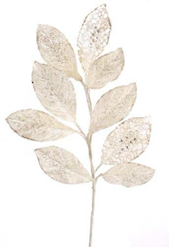 Pack of 12 Decorative White and Silver Artificial Glittered Leaf Stems by Melrose