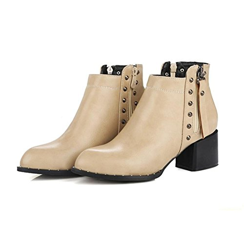 NVXIE Women's Ladies Short Boots Rough High Heel Pointed Toe Artificial PU Rivets Black White Fall Winter Party Work BEIGE-EUR38UK55 HHx0spfrF