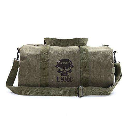 USMC Semper Fi Skull Marine Corp Sport Heavyweight Canvas Duffel Bag in Olive & Black, Large