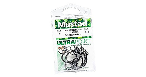 Mustad UltraPoint Demon Perfect Offset Circle 4 Extra Strong Hook with Kirbed Point (Pack of 2), Black Nickel, 12/0 (Ultra Point Demon Circle Hook)