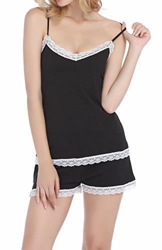 per spaghetti cotone morbido set Nero pigiama pigiama di spaghetti Vansiter a donne pigiama xwOpxHq1
