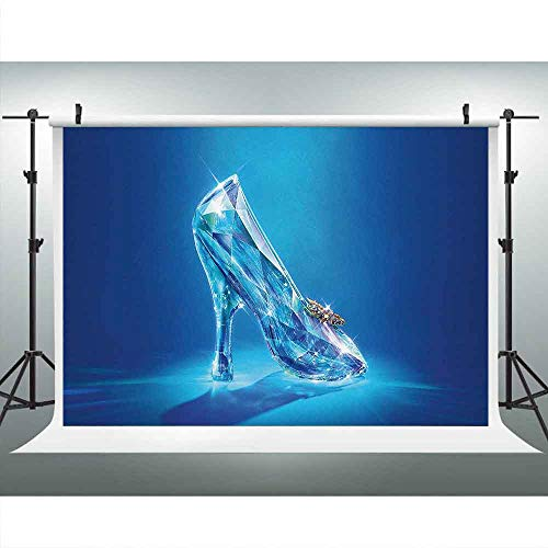 Crystal Shoes Backdrop for Photography 9x6ft Cinderella Shoe Fairy Tale Background Royal Princess Girl Birthday Party Backdrops Photo Booth Props LUCKSTY LUZZ447 Photocall ()