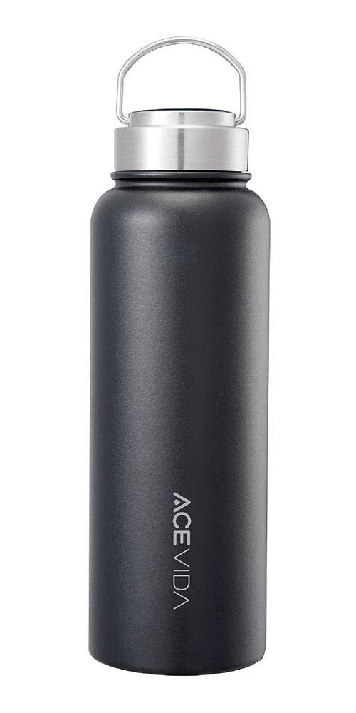 ACEVIDA Active Insulated Water Bottle 18oz Sports Water Bottle 316 Stainless Steel Vacuum Flask Silver