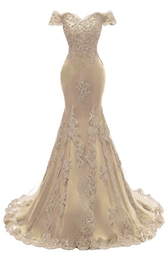 Himoda Women's V Neckline Beaded Evening Gowns Mermaid Lace Prom Dresses Long H074 8 Champagne ()